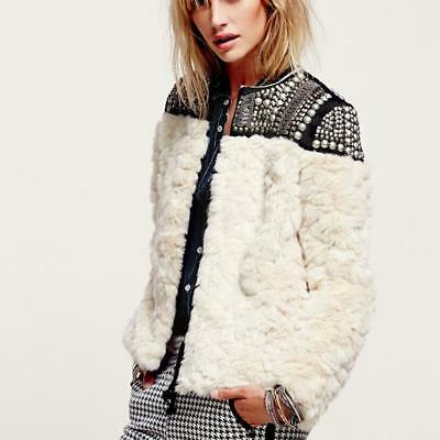 Ths01 Women Winter Faux Fur Wool Rivet Sequin Beading Outwear Jacket Coat Comfor