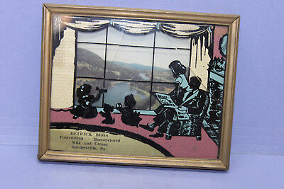 DETRICK BROS Milk Cream DAIRY ADVERTISING Glass Picture Family Snydersville PA