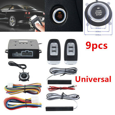 PKE Car Alarm System Passive Keyless Entry Push Button Remote Engine Control Kit