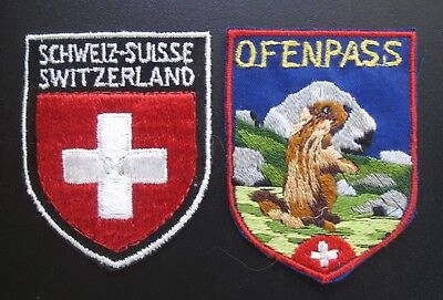 Vintage Schweiz-Suisse Switzerland/Coat of Arms Patch and Ofenpass/Marmot Patch