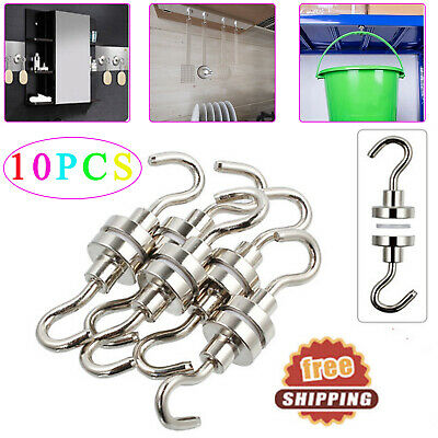 10X 12LBS Heavy Duty Magnetic Hooks Super Strong Neodymium Magnet Hook 5.5kg NEW