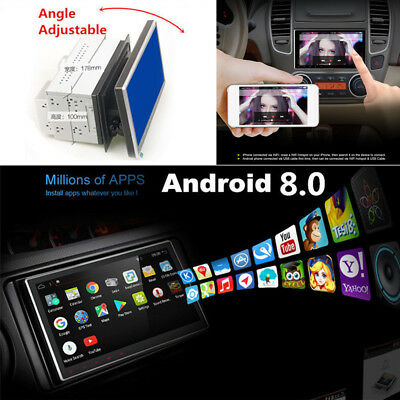 HD Android 8.0 2Din GPS Stereo Radio Player Wifi Car Navigation Adjustable Angle