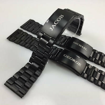 Name Engraved Personalized Black Steel Bracelet Replacement Watch Band #5016