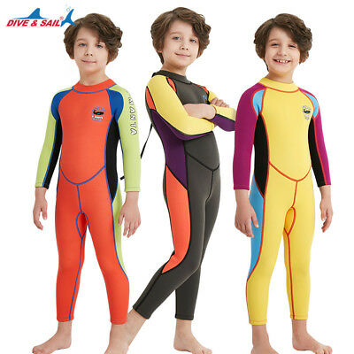 383b66bcf5 Kids 2.5mm Neoprene Long Sleeve One Piece Wetsuits Diving Thermal Warm  Swimsuit