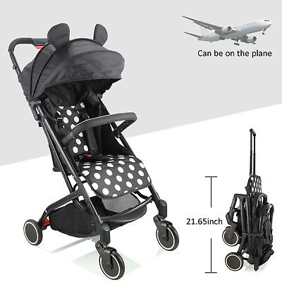 Black -Compact Lightweight Baby Stroller Pram - Travel Carry-on Plane- Foldable