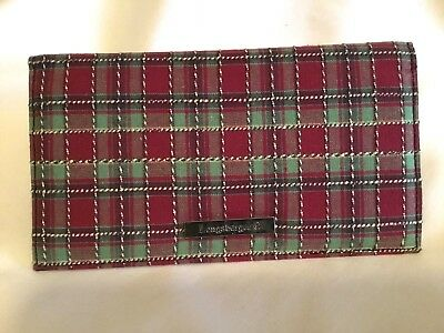 Longaberger Checkbook Cover ~ Holiday Plaid Fabric  ~ BRAND NEW ~