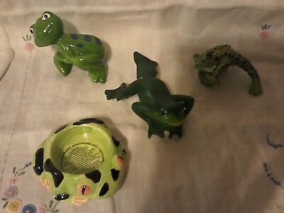Lot of 3  FROG Flower Pot hangers & 1 Frog tea light candle holder Collectibles