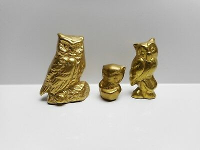 Vintage - Three Small Heavy Brass Horned Owls - Ornaments,  Paperweights, Etc.