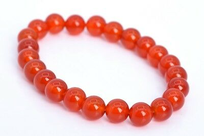 8MM Red Carnelian Bracelet Grade AAA Genuine Natural Round Gemstone Beads 7""