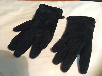 Vintage Black Shell Leather Gloves