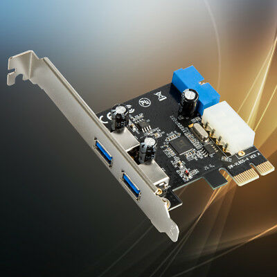 2 Port Usb 3.0 Pci-E Expansion Card 19Pin Header 4Pin Ide Power Connector w/
