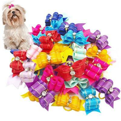 10Pcs/set Pet Dog Cat Flower Hair Bows Rubber Band Pets Dog Grooming Supply