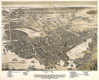 PORTSMOUTH NEW HAMPSHIRE 1877 old map genealogy family history nh35