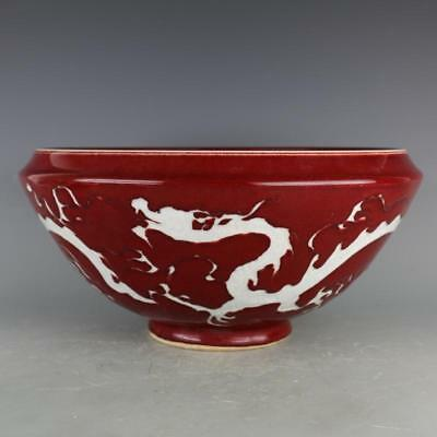 Chinese ancient antique hand make Red glaze white Carving Dragon grain large bow