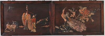 Pair of Chinese Marquetry picture, Soapstone, late 19th century