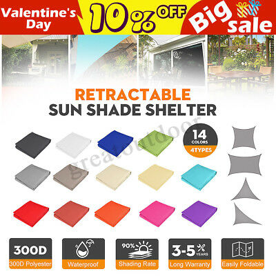 Rectangle 300D UV Block Sun Shade Sail Waterproof Awning Outdoor Canopy Garden