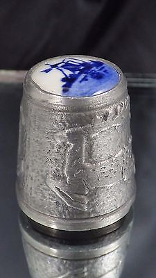 Vintage Thimble Porcelain Delft Blue Windmill Pewter Deer Collectible Sewing