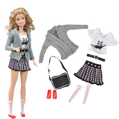 7pcs/Set Clothes Outfit Coat Tops Skirt Bag/Shoes For 11inch Doll High Quality