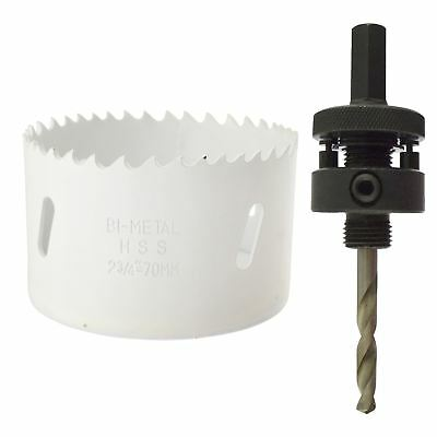 70mm HSS Hole Saw Holesaw BiMetal Blade Cutter Drill And Drill Adaptor Arbor