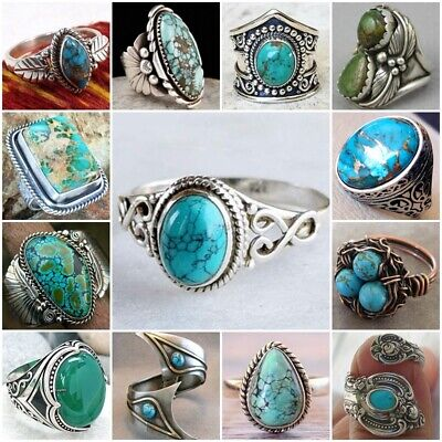 Vintage Women Men 925 Silver Ring Turquoise Wedding Engagement Party Size 6-10