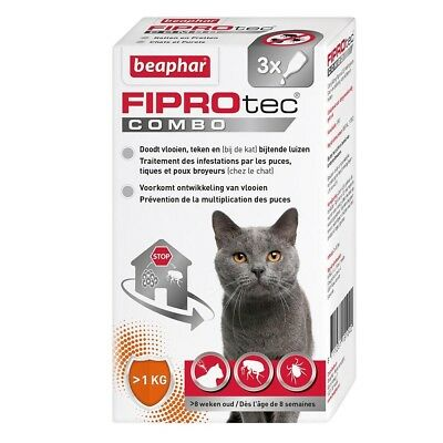 Beaphar FIPROtec Combo, Pipettes Anti-Puces et Anti-tiques - Chat - 3 Pipettes
