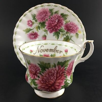 Royal Albert Montrose Teacup & Saucer Flower Of The Month November Chryanthemum