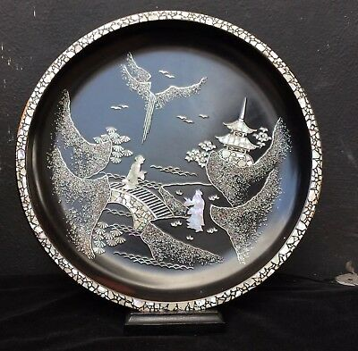 Antique Chinese Lacquered Tray With Mother Of Pearl Inlay