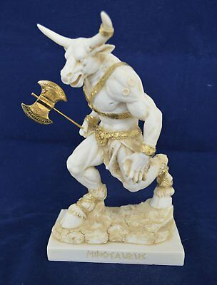 Minotaur sculpture Mythical ancient Greek Creature aged statue