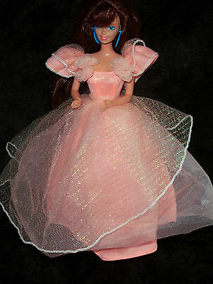 Brown Hair  Barbie Doll With Long Gown