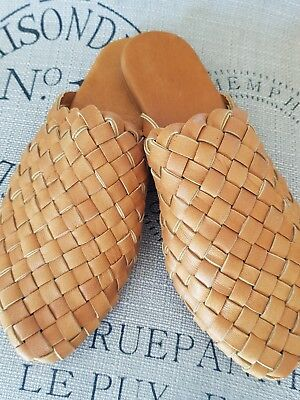 Womens Woven Leather Mules Shoes Sandals Size 39