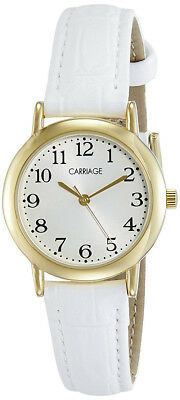 Timex Women's Carriage Analog Quartz Stainless Steel/White Leather Watch C3C747