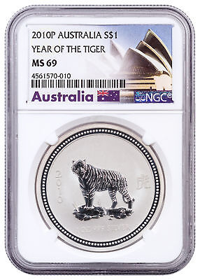 2010-P Australia 1 oz. Silver Year of Tiger S1 $1 NGC MS69 Excl Label SKU29724