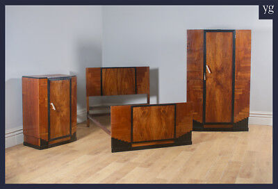 Antique Art Deco Figured Walnut Three Piece Bedroom Suite Bed Wardrobe Compactum