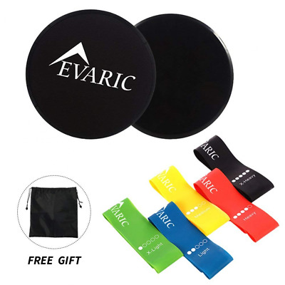 Resistance Loop Bands and Core Sliders with Carry Bag Set of 5 Exercise Bands US