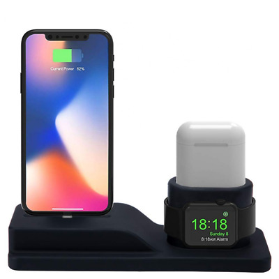 3 in 1 Charging Stand for iPhone AirPods Apple Watch Charger Station Silicone US