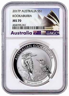 2017-P Australia 1 oz Silver Kookaburra $1 NGC MS70 Exclusive Label SKU46653