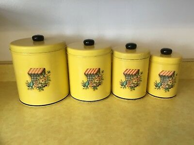 Vintage Metal Tin Kitchen Canister Set of 4 Yellow w/ Floral garden theme (O62)