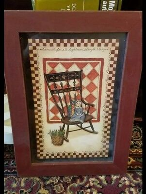 """Primitive Wooden Framed Picture Windsor Rocking Chair & Baby Doll Wall Art 14.5"""""""