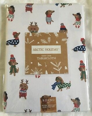 Arctic Holiday Dachshund Dog Christmas Winter Holiday Tablecloth White Round NEW