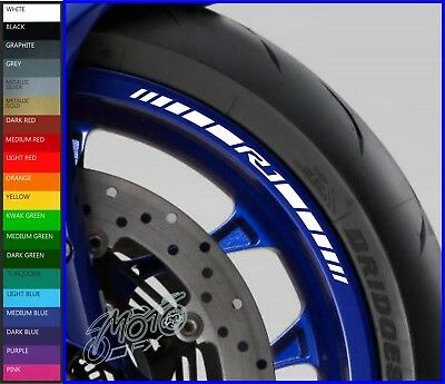 8 x YAMAHA R1 Wheel Rim Decals Stickers - 20 colours available - yzf r1 1000 r1m
