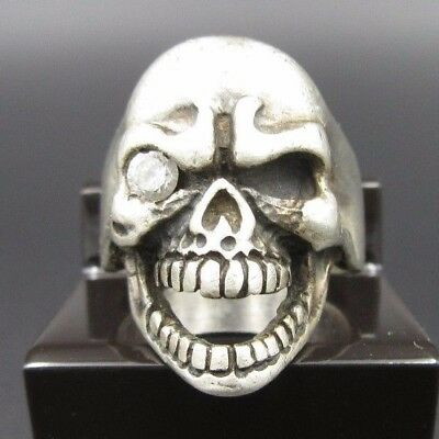 """L493 ⭐⭐ Old Large Vintage """" Skull Ring with Zirconia """" 925 Silver Ring ⭐⭐"""