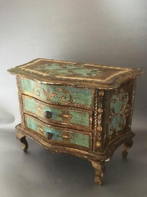 Vtg Italian Florentine Hand Painted Blue & Gold Gilt Tole Wood Chest Jewerly Box