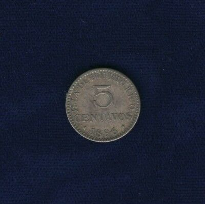 Puerto Rico  1896-Pgv   5 Centavos Silver Coin, Choice Uncirculated