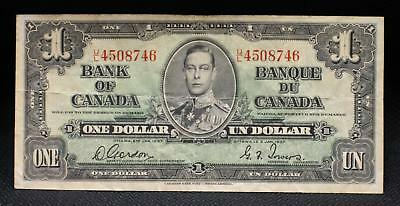 1937 Bank of Canada 1 Dollar Note in VF Condition NICE OLD Collectible Note!