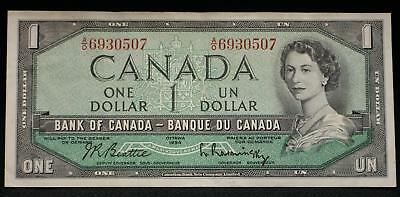 1954 $1 DOLLAR BANKNOTE BANK OF CANADA FOLD Slightly circulated review pictures