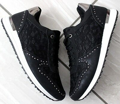 e45251ae4f2 Ladies Womens Black Studded Lace Up Trainers Training Sneakers Fashion Shoes  3-8