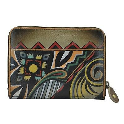"Anuschka #1124-AAZ ""ANTIQUE AZTEC"" RFID Small Flap French Wallet 5""x4"" NWT"