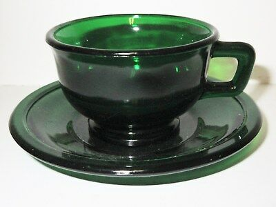 Rare Akro Agate Transparent Green Miss America Cup/Saucer Set(s)/2 Sets Availabl
