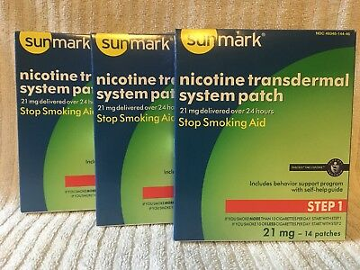 Sunmark Nicotine Transdermal System Patch, Step 1, 21 mg, - 42 Patches, Exp03/19
