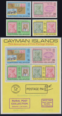 Cayman Is. - 1976 First Postage Set & S/S. Sc. #368-71a, SG #399-403. Mint